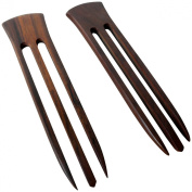 JWL (2) Rosewood Three Prong 15cm Straight Hair Stick Pick Pic Pin Fork - Hawaiian Style