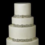 Silver White Swirl Rhinestone Satin Ribbon Wedding Cake Decorators