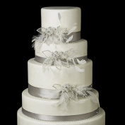 Clear Rhinestone, Feather & Tulle Flower Wedding Cake Decorators