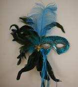 Mardi Gras Masquerade Feather Costume Stick Mask or Table Centrepiece Decoration