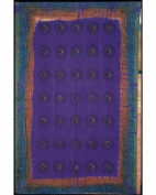 Purple Mantra Print Indian Bedspread, Double Size