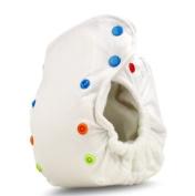 BabyKicks Premium Cloth Nappy Snap Closure, White