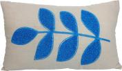Decorative Flora Leaf Embroidery Throw Pillow Cover 50cm X 30cm Blue