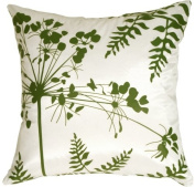Pillow Decor - White with Green Spring Flower and Ferns 41cm x 41cm Decorative Throw Pillow