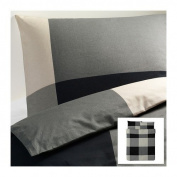 Ikea Brunkrissla 3pc. Queen Duvet Cover and Pillow Cases, Black/grey
