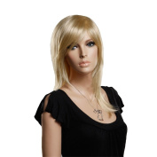 Troadzwig Blonde Long Straight Hair Natural Oblique Bangs Wigs for Women Kanekalon Fibre Synthetic