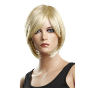 Troadzwig Blonde Short Straight Hair Natural Middle part Wigs for Women Kanekalon Fibre Synthetic