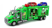 Extreme Car Transporter Semi Trailer Friction Toy Truck Ready To Run w/ 4 Extra Toy Cars