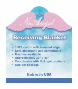 "NuAngel 100% Cotton Flannel Receiving Blanket, Periwinkle Blue ""Jesus Loves Me"" MADE IN USA"