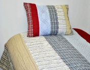 Bacati - Plaids and Stripes Boys Twin Quilt