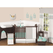 Grey and Turquoise Chevron Zig Zag Gender Neutral Baby Bedding 4 pc Boy or Girl Crib Set without bumper