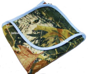 JLCK Mossy Oak Camo Baby Blanket with Blue Trim