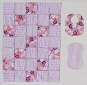 Butterflies and Flowers in a Purple Lavender Floral Print Baby Rag Quilt Blanket with Matching Burp Cloth and Bib