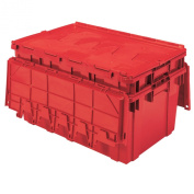 Buckhorn AR2717120202000 Attached Lid Flip Top Storage and Distribution Plastic Tote, 70cm x 43cm x 30cm , Red