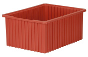 Akro-Mils 33220 Akro-Grid Slotted Divider Plastic Tote Box, 22-3/8 -Inch Length by 44cm Width by 25cm Height, Case of 2, Red