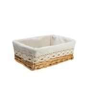 RURALITY Plain and Elegant Wicker Storage Basket with Liner,Small