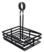 American Metalcraft FWC68 Rectangular Wrought Iron Condiment Basket, Black