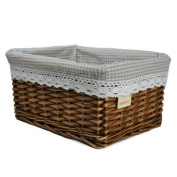 RURALITY Willow Wicker Storage Basket with Liner, Coffee Colour