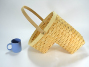 Woven Wicker Stair Step Basket w/Handle SM