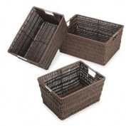 Whitmor Rattique Baskets Set Of 3 Java