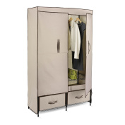 Honey-Can-Do WRD-01274 Ultra-Deluxe 110cm Wide Storage Closet with Heavy Duty Doors, Cream