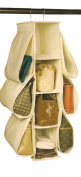 Richards Homewares Hanging Handbag Organiser-Canvas/Natural