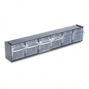 Deflect-O 20604OP Tilt Bin Plastic Storage System w/6 Bins, 23 5/8 x 3 5/8 x 4 1/2,, Black