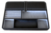 Max 30cm Valet Tray - 6 Compartment Leatherette Organiser Box for Wallets, Coins, Keys, and Jewellery