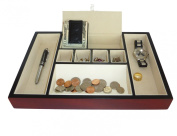 Cherry Wood Rosewood Valet Tray Desk Dresser Drawer Coin Case Catch-all for Keys, Phone, Jewellery, Watches, and Accessories