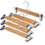 J.S. Hanger™Natural Wood Skirt Hangers, Wooden Pants Hangers with Chrome Hardware, Natural hardwood Hanger, 5-Pack