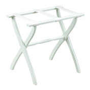 Gate House Furniture Item 1403 White Contoured Leg Luggage Rack with 3 White Nylon Straps 23 by 33cm by 50cm