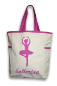 Thro 3983 Single Ballerina Printed Canvas Kids Tote with Side Pockets, 12 by 41cm by 15cm , Natural/ Ibis Rose