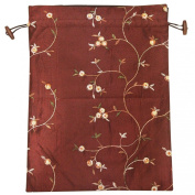 Wrapables Beautiful Embroidered Silk Travel Bag for Lingerie and Shoes, Burgundy