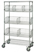 Quantum Storage Systems M2436BC6C 2-Tier Mobile Wire Basket Unit with 3 Baskets, Chrome Finish, 60cm Width x 90cm Length x 180cm Height