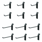 Jifram Extrusions, Inc Jifram 11000284 Easy Living Easy Wall Bag of 12 (Six 10cm and Six 15cm ) Metal Slatwall Hooks with Stabalizer and Double Hook Clips, Black
