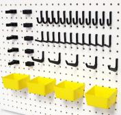 Wallpeg 43 Pc. Peg Hook Kit with Plastic Bins - Pegboard Hook Assortment Organiser - AM 302