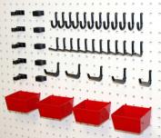 Wallpeg Craft & Tool Organiser Bins & Peg Hooks - 10 Red Bins and 80 Assorted Peg Hooks AM-90R 2