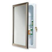NuTone 625N244SNCL Hampton Locking Security Medicine Cabinet, 38cm by 60cm , Satin Nickel