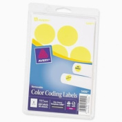 Avery Self-Adhesive Removable Labels, 3.2cm Diameter, Yellow Neon, 400 per Pack