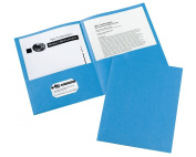 Avery Two-Pocket Portfolios, Embossed Paper, 30-Sheet Capacity, Light Blue, Box of 25