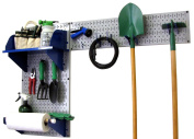 Wall Control Pegboard Garden Supplies Storage and Organisation Garden Tool Organiser Kit with Grey Pegboard and Blue Accessories