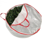 Household Essentials Circular Wreath Storage Bag with Red Trim