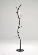 Black Metal Walnut Wood Hall Tree Coat Hat Rack