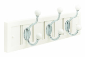Amerock H55640-WW26 46cm Beadboard Hook And Rack, White with White and Chromed Hooks