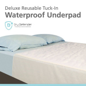 Washable Waterproof Mattress Sheet Protector Bed Underpad - Large 90cm x 140cm with Tuck-Ins
