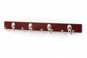 Spectrum 79778 Stratford Wood Rack with 4 Double Satin Nickel Hooks, Walnut Finish