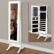 White Mirrored Jewellery Cabinet Armoire W Stand Mirror Rings, Necklaces, Bracelets