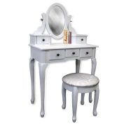 Vanity Table Jewellery Makeup Desk Bench Drawer White Solid Wood Construction New
