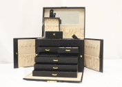 Luxurious Black Leather Jewellery Travel Box and Case with Lock