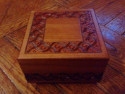 Square Traditional Design Natural Finish Secret Legs Puzzle Box